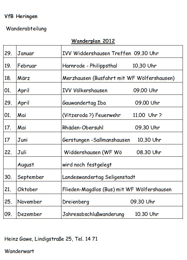 Wanderplan 2012