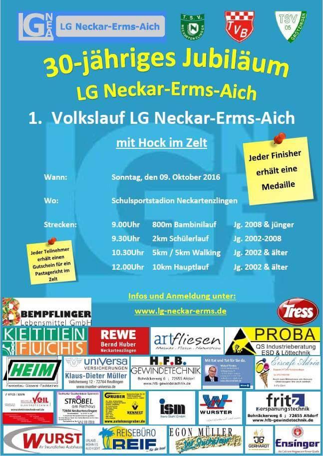 1. Volkslauf der LG Neckar-Erms-Aich am 09.10.2016